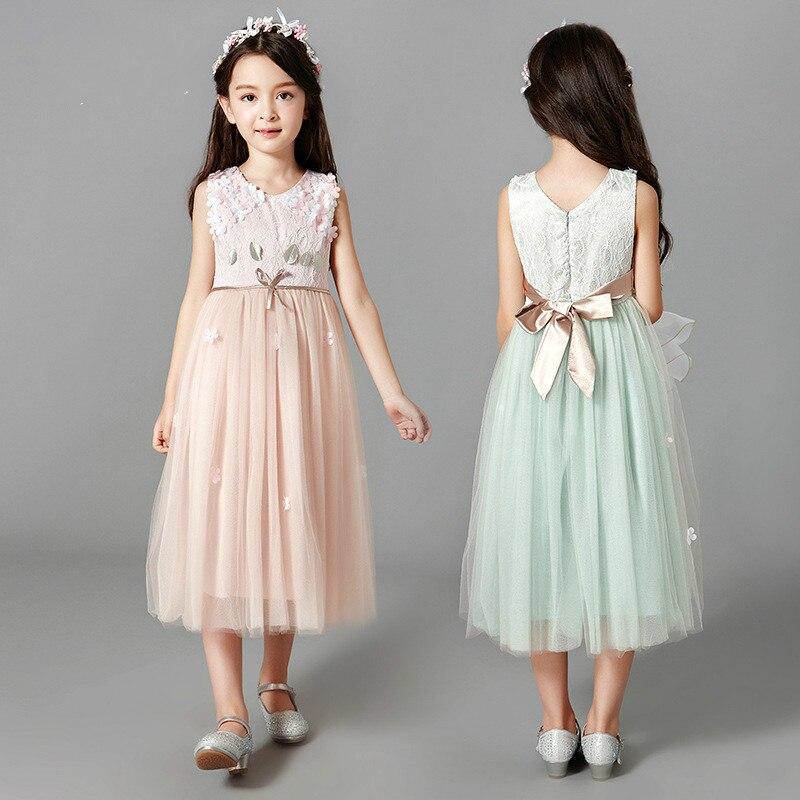 Teenage Children Gauze Tutu Long Maxi  Princess Dress with Belt Flower Girls Lace Vintage Wedding Frocks Design 110-160cm<br><br>Aliexpress