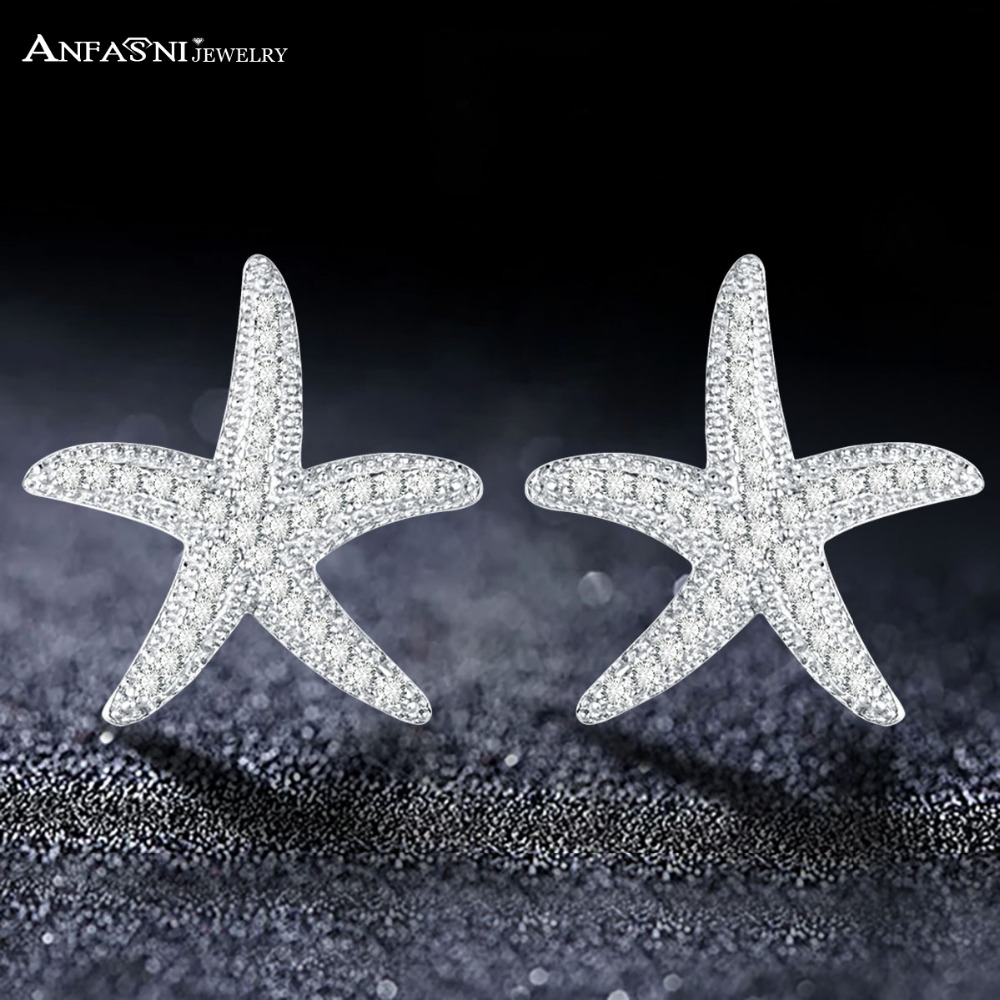 ANFASNI Starfish Earrings Silver Color Clear CZ Stud Earring Woman Fashion Jewelry Party brincos femin CER0731-B
