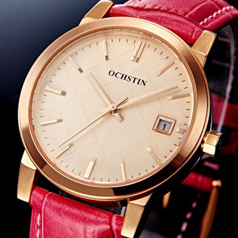 Reloj hombre Direct Selling Quartz Dress women Wristwatch Ochstin Brand Luxury Waterproof Leather date Women Watches Reloj Mujer<br>
