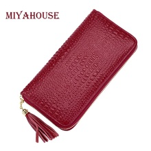 Miyahouse High Quality Genuine Leather Women Wallets Long Alligator Wallet Female Tassel Zipper Purse Fashion Ladies Card Purses(China)