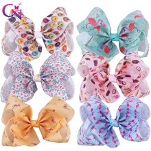 "6 Pieces/lot 7"" Flamingo Hair Bows With Clips For Kids Girls Boutique Large Printed Ribbon Knot Bows Hairgrips Hair Accessories(China)"