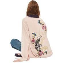 Women Kimono Cardigan Embroidery Floral Tiger Pattern Long Sleeve Lace-up Long Chiffon Blouse Shirts Casual Cape Shawl Blusas