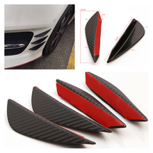 HOT 4pcs Carbon fiber Fit Front Bumper Lip Splitter Fins Body Spoiler Canards Valence Chin CY818-CN