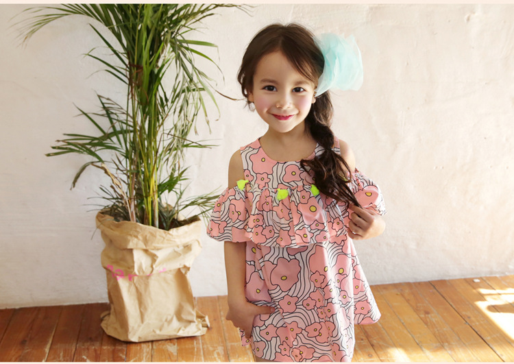 2016 Summer princess dresses Korean style holiday birthday party floral sundress baby children girl kids clothing aged2-10Y<br><br>Aliexpress