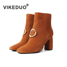 Vikeduo Women High Heels Shoes Custom Made 100% Genuine Cow Leather Luxury Zipper Fashion Casual Lady Shoes Original Design(China)