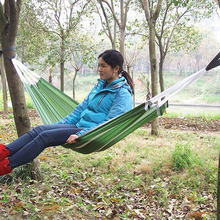 190*72cm Hammock Canvas Fabric Double Spreader Bar Hammock Super Light Parachute Cloth Hammock Travel Leisure Camping & Swing(China)