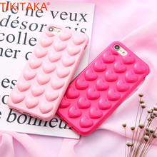 TIKITAKA New Pop Phone Case For iPhone 5 With Phone Chain Soft TPU Back Cover Cute 3D Sweet Lady Love Heart Fashion Phone Cases