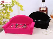 Superior Black/Rose Red Velvet Sofa Jewelry Ring Display Tray Case Box Organizer Earrings Stands Holder Rack Free Shipping