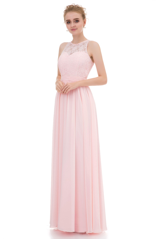 Elegant Bridesmaid Dresses Long 2017 Light Pink Chiffon ...