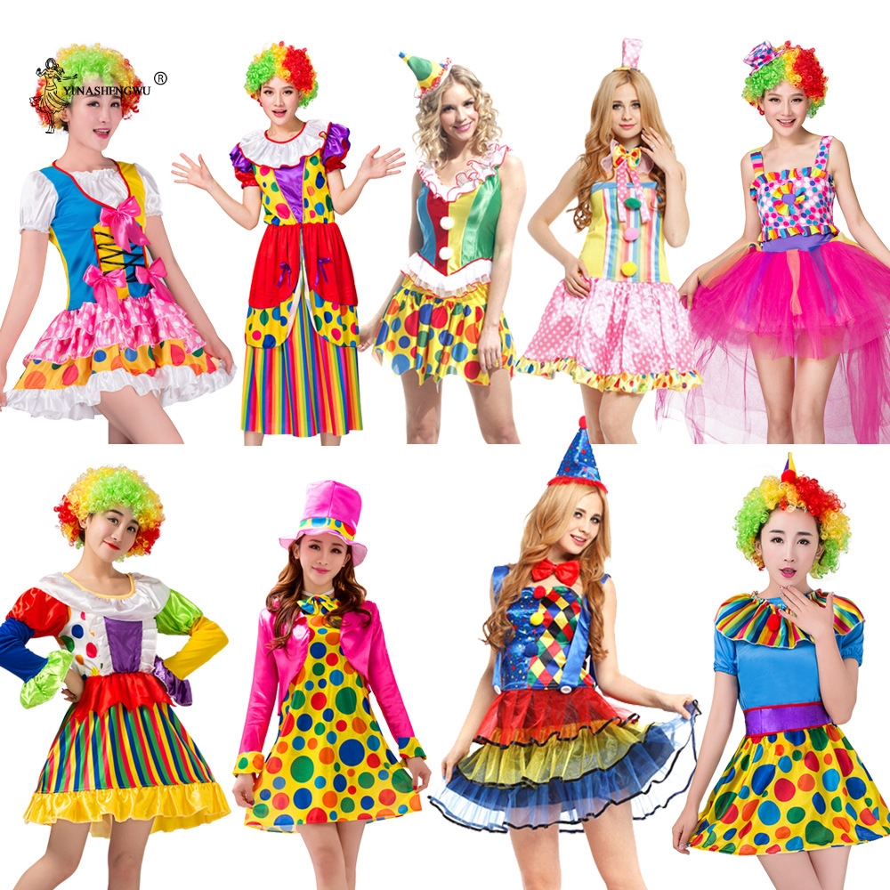 Adult Men Women Clown Costume for Cosplay Party Dress Circus Clown Costume Naughty Harlequin Uniform Dress Cosplay Clothing