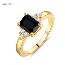 GULICX  2017 Fashion Large Princess Cut Crystal Lady Ring  Yellow Gold-color Band Black Cubic Zirconia Party Jewelry R092