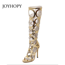 JOYHOPY Knee High Sandals For Women Gold Black Cut-outs High Heel Boots Sexy 11cm Heel Evening Party Woman Casual Shoes AWS029(China)