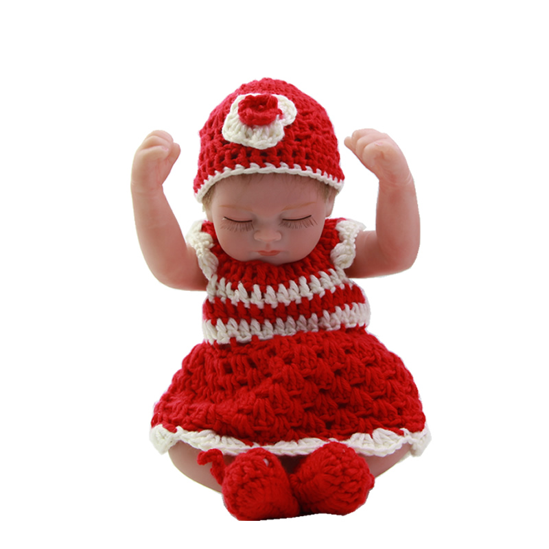 Mohair Rooted 11 Inch Full Silicone Reborn Baby Dolls Sleeping Reborn Dolls Girl With Knitted Set Kids Birthday Xmas Gift<br><br>Aliexpress
