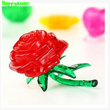 Happyxuan  Educational DIY 3D Jigsaw Crystal Puzzle Plastic Rose Pink Blue Yellow Red Home Decoration Birthday Gift for Children
