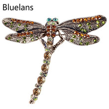 Fashion Vintage Retro Noble Dragonfly Rhinestone Crystal Scarf Brooch Pins Brooches for Wome New Year Decoration Christmas Gifts(China)
