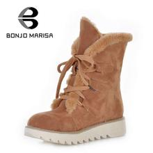 BONJOMARISA Big Size 34-43 Snow Boots for Women Warm Fur Shoes Artificial Suede Boots Fashion Platform Half  Platform Flat Shoes