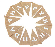 3m Burlap Flags Vintage Birthday Banners Bunting Party Decoration Happy birthday  AA7941