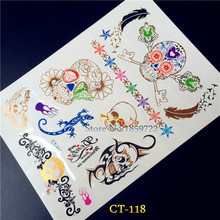 Latest Sexy Skull Flash Temporary Tattoo Arm Hand Stickers Gold Skull Metallic Tattoo Waterproof Gecko Tatoo Halloween Body Art
