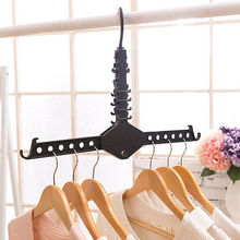 Magic Multi-Functional Dual Hanger Folding Clothes Hanger Clothing Drying Rack(China)
