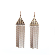 Hongye jewelry alloy braided triangle hanging long Tassel Earrings Vintage lady family name wind direct manufacturers