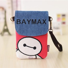 2017 Super Cute Cartoon Character Baymax Pattern Mobile Phone Bag Mini Shoulder Bag Cellphone Pouch Phone Holder for Smartphones