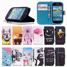 Fashion Painting Case PU Leather Flip Cover For Samsung Galaxy S3 Mini I8190 Cell Phone Bag Wallet Cases With Stand Function