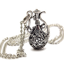 NQ027 Antique Silver Color Hollow Bottle Flagon Pendant costume Long Chain Vintage Necklace Jewelry bijouterie for Women Girls(China)
