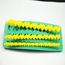 Tangchu Brand Heart Chain Baking Green Silicone Fondant Cake Mold as Cake Decoration Tool for Soap Chocolate Cake Cookie DIY 592(China)