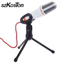 High Quality Rotatable 3.5mm Condenser Microphone Mic Recording Stand For PC Laptop Desktop tripod Computers Mic With Holder(China)