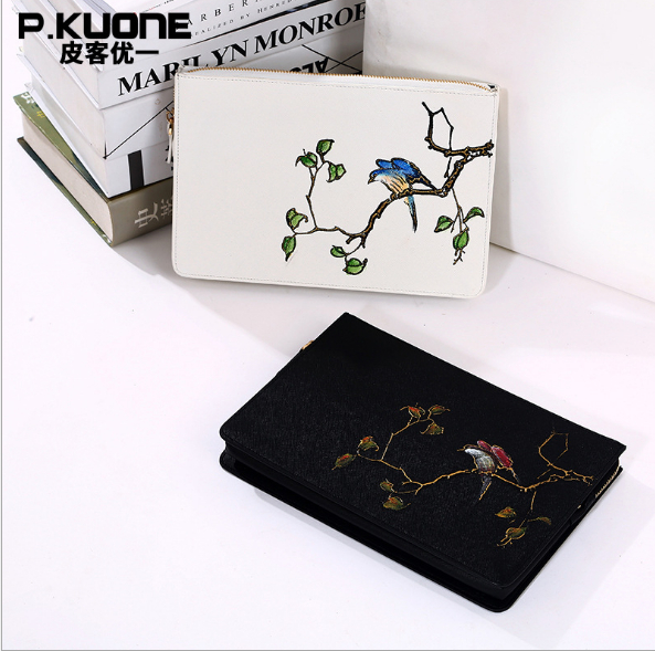 P.KUONE new Split leather women handbag holding dinner  Chinese style pure bag painted imitation embroidery bird  Day Clutches<br>