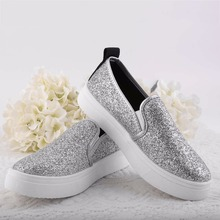 Sequins Thick Bottom Womens Ladies Slip On Flat Plimsolls Sneakers Skater Trainers Casual Platform Breathable Shoes