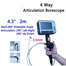 5.5mm 4 Way Direction 2M Rotational Inspection Camera Industry Endoscope Video Borescope 4.3inch LCD USB SD Card ,VD-4ED55(China)