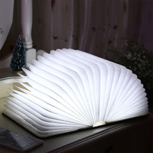 Folding LED Nightlight Creative LED Book Light Lamp Best Home Novelty Decorative USB Rechargeable Lamps White/Green/Blue/Red(China)