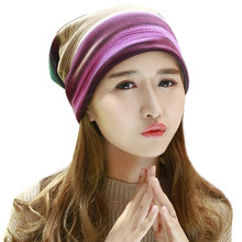 Winter Warm Wool Blend Fleece Rainbow Hat Lady Girl Beanies Cap Striped Hip Hop Punk Style Womens Hats Knitting Thin Bonnet Caps