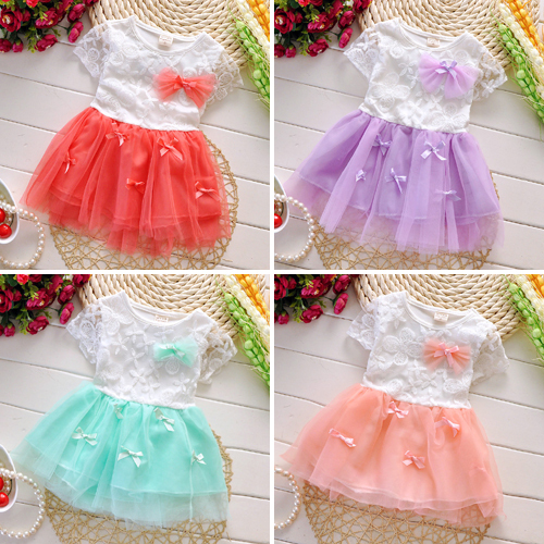 Baptism Free Drop Shipping 2016 New Summer Fashion Four Leave Grass Lace Children Baby Girls Short-sleeved Dress Dresses A226<br><br>Aliexpress
