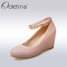 Odetina 2017 Ladies Ankle Strap Mary Jane Pumps Sweet Pink High Heels Wedding Shoes Office Women Platform Wedges Shoes Plus Size