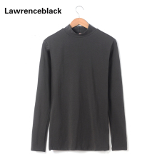Turtleneck T-shirt Men Cotton Solid Long Sleeves Tee Shirt Homme Men T Shirts Fashion 2017 Camiseta Masculina Brand Clothing 296(China)