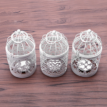 Creative candelabros Hollow Hanging Bird Cage Candle Holder Candlestick Lantern Bridal Decor Vintage Candlesticks Home Decor(China)
