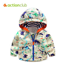 Acitonclub 2016 Baby Boys Jackets Children Hooded Dinosaur Printed Boys Outerwear 2-6T Kids Windbreaker Spring Autumn Clothes(China)