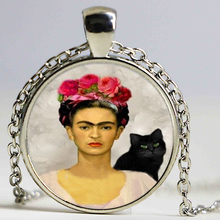 Vintage Frida Kahlo and Black Cat Pendant Necklace Glass Cabochon Art Picture Vintage Jewelry Black Bead Chain Long Necklace gif