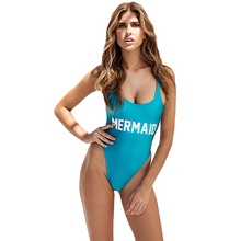 MERMAID Letter Print One Piece Swimsuit Women Swimwear Monokini Sexy Bodysuit Funny High Cut Jumpsuit Blue Bathing Suit Biquinis(China)
