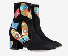 New arrival women Aututmn Winter ankle boots butterfly print decoration colorful shoes chunky heels black big size women shoes