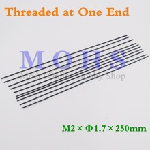 10pcs/20pcs threaded at one end  D1.7mm M2 push rod  steel wire push pull rod pushrod  rc aircraft  pull push connecting rod