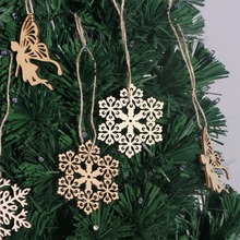 10pcs Round Hexagonal Wooden Snowflake Hanging Ornament Decoration Xmas DIY Home Tree Decorations Christmas Tree Supplies(China)