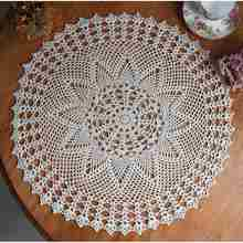 Cotton Round Hand Crocheted Lace Doily Placemat 60cm Mat White Flower Tablecloth Home Table Decorative Textiles Supplies