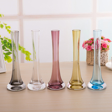 Modern minimalist  Iron tower Glass Vase Stained glass Vases Transparent Home Decoration 25cm high Wedding Decoration Vase