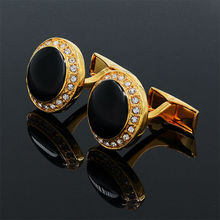 Black Onyx Round Design Gold-color Cufflinks Shirt Cuff for Men Wedding Wholesale Gift 991583(China)