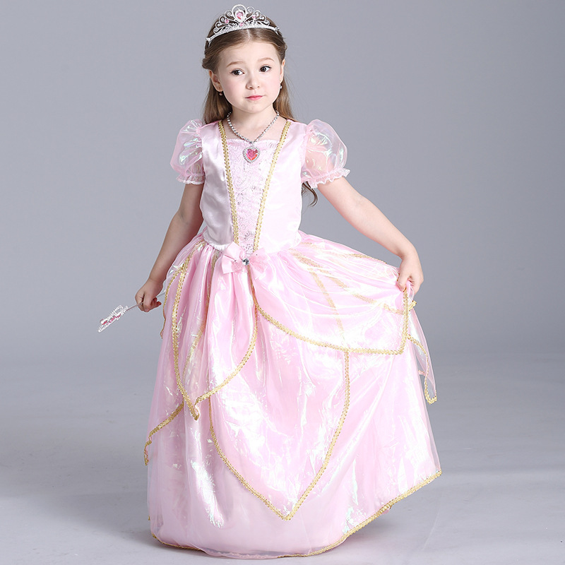 Princess Toddler Girls Pink Wholesale Short Sleeve Bowknot Decor Halloween Festival Cosplay Show Stage Performance Costume Dress<br><br>Aliexpress