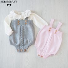 2016 cute baby girls jumpsuits infant rompers baby Toddler Overalls Button Rompers Princess Kids Clothes new arrival Rompers