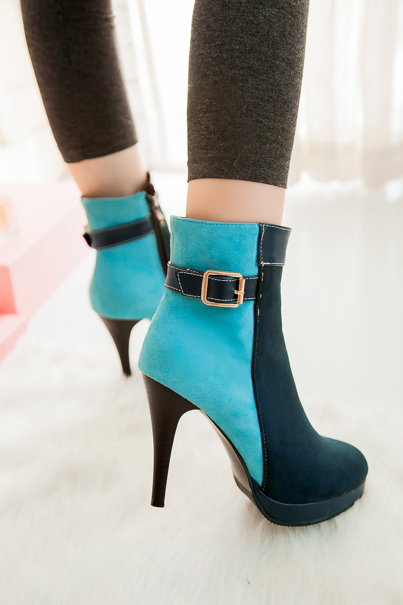 New Sexy Women Ankle Boots Thin Heels Black Green Blue Red Orange Shoes Woman US Size 4-10.5<br>